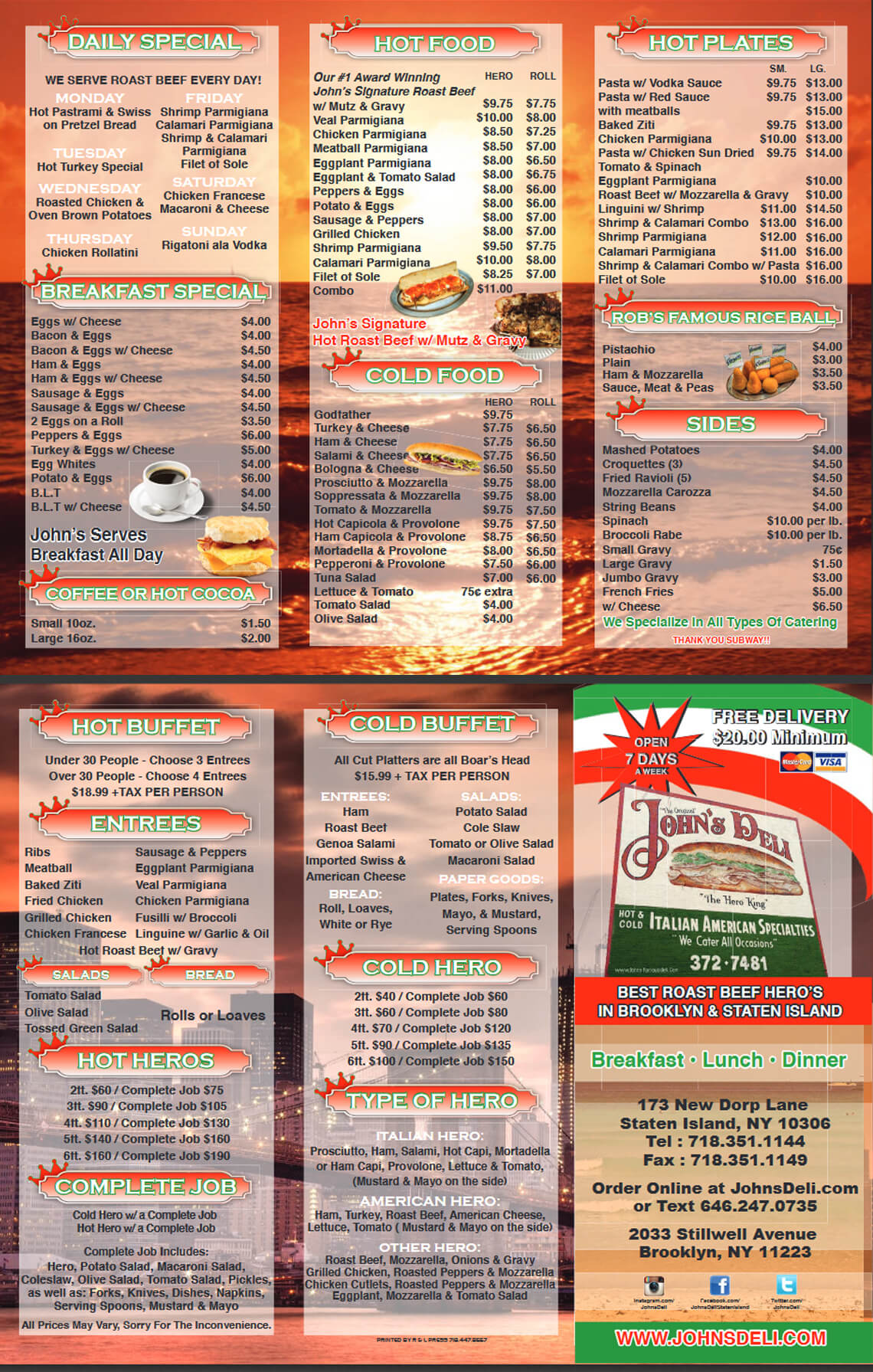 johns deli menu